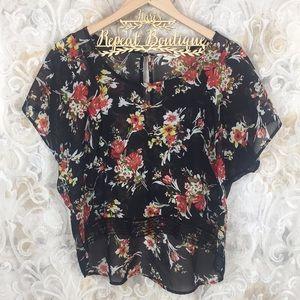 Black poppy sheer black floral M